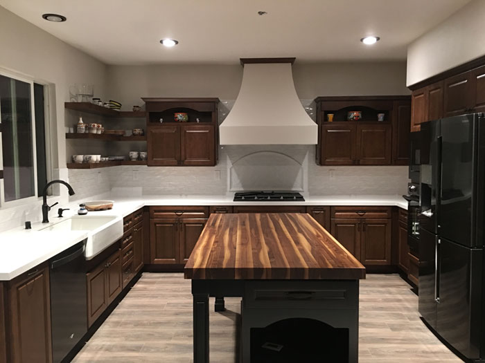 Rustic Walnut Butcher Block Kitchen Island Countertop with Everlast Satin Varnish Finish Armani Fine WoodWorking